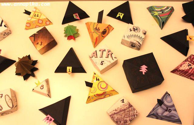 Calendrier de l'avent en origami